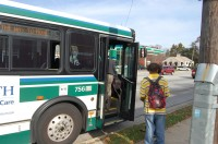 Students and staff ride the GTA bus daily. The Route 7 bus stops at the corner of W. Friendly Ave. and George White Rd.  (Lucas Blanchard-Glueckert/Guilfordian)