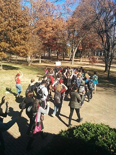 #HandsUpWalkOut: students protest with Ferguson