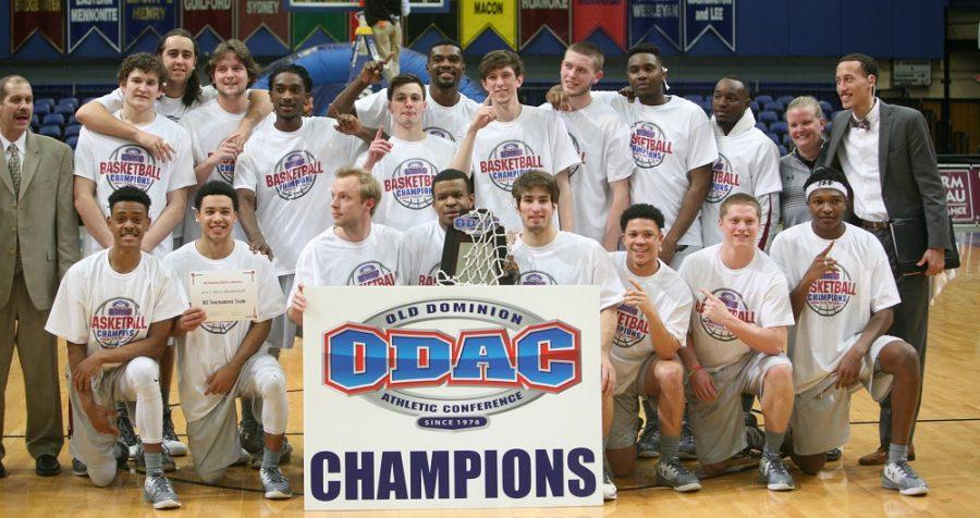 Guilford+College+men%27s+basketball+team+poses+after+winning+the+ODAC+Tournament.+Photo+By+Andrew+Walker+2017