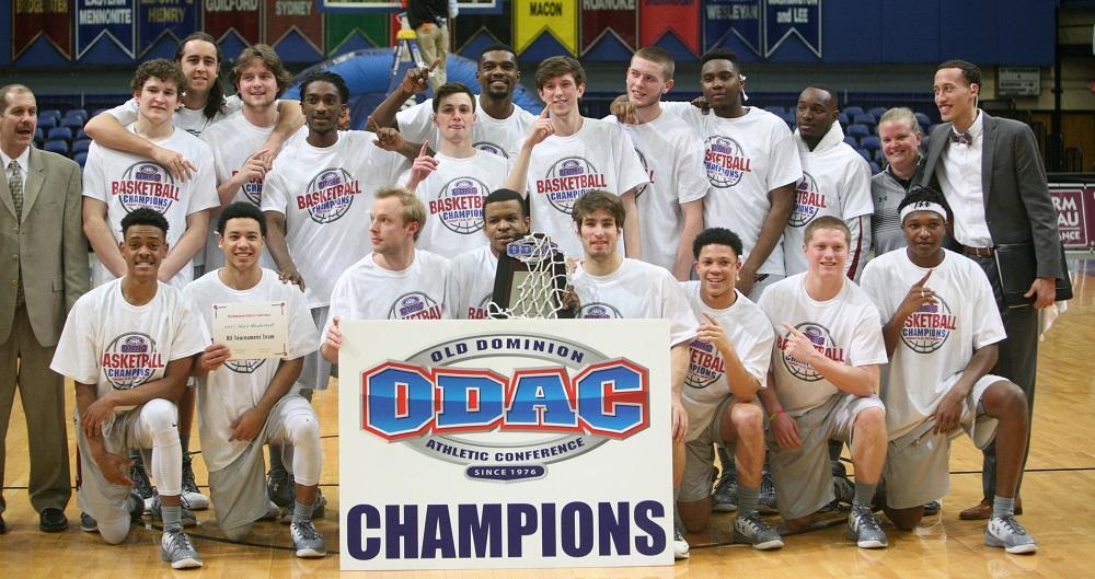 Guilford College men's basketball team poses after winning the ODAC Tournament. Photo By Andrew Walker 2017