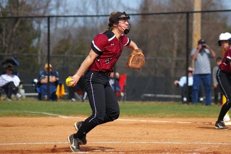 Guilford+College%27s+Courtney+Lackey+threw+a+complete-game+shutout+in+game+one+while+Makayla+Carver+threw+a+complete-game+in+the+nightcap+as+the+Quakers+claimed+a+Wednesday+afternoon+sweep+of+North+Carolina+Wesleyan+College.+Guilford+took+game+one%2C+2-0%2C+and+claimed+the+nightcap%2C+6-2.