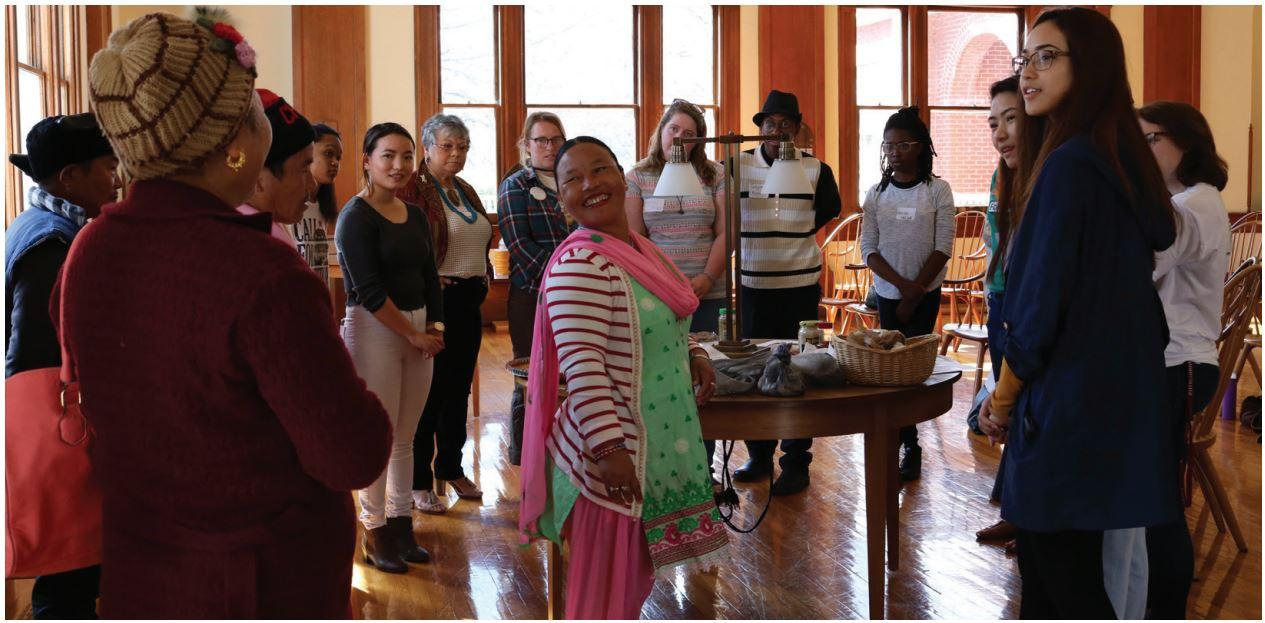 Junior Mamta Gurung and members of the Bhutanese community share how they are preserving their culture through food. This was one of the many workshops people could attend and learn about how they as individuals could become more aware of food justice and food insecurities.