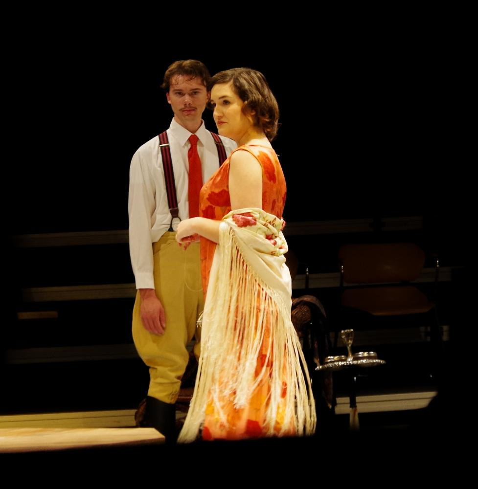"""Nathan Ray '20, plays the character of Joey Percival, and Emma Moreno '17, plays Hypatia Tarleton in the theatre studies production of """"Misalliance"""" by George Bernard Shaw. """"Misalliance"""" is presented in celebration of the life of Devin Seaverson. // Photo by Andrew Walker/Guilfordian"""