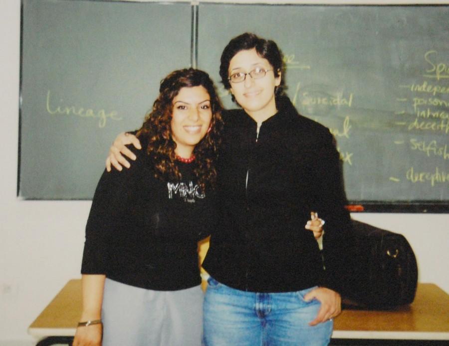 A+young+Abdo+poses+with+beloved+student+Tahani+Hawari+at+Ahliyya+Amman+University%2C+Jordan%2C+where+she+taught+from+2003-06.+%28Diya+Abdo%29