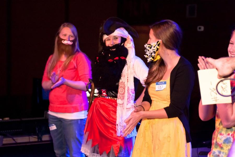 Southern Belle beard contest winner Meghan Spivey '11 (center) wore a complete pirate ensemble to secure her place as first in the competition and in the hearts of the audience. (Courtesy of Travis May)
