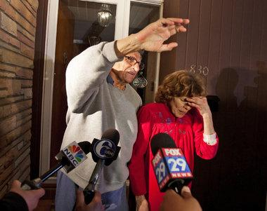 Paterno and his wife on their front porch as they answer questions from the press (The Patriot News)