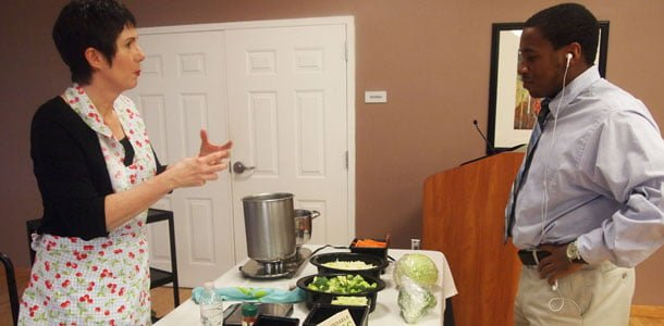 Linda Watson educates students about eating well during Food Week