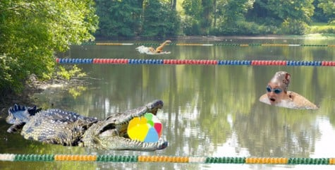 GOOFORDIAN: Swimmers dive into lake, must face crocodile