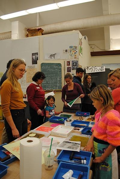 Printmaking Palooza! provides time for alumni and students to connect over art