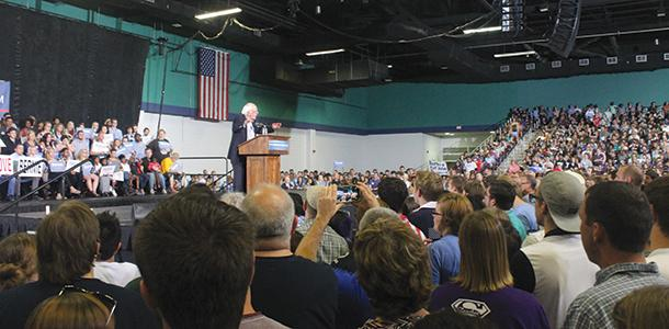 Bernie Sanders speaks at the Greensboro Coliseum last Sunday. According to WGHP, around 9,000 attended.
