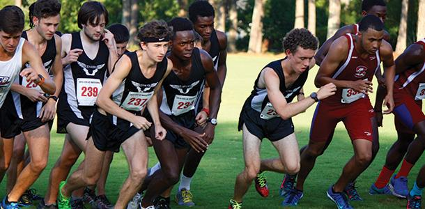 The men's cross country team gets out fast at the start of the Coastal Carolina University Invitational last Friday.