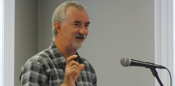 Tom Risser 85 speaks at last years Quake Talks.