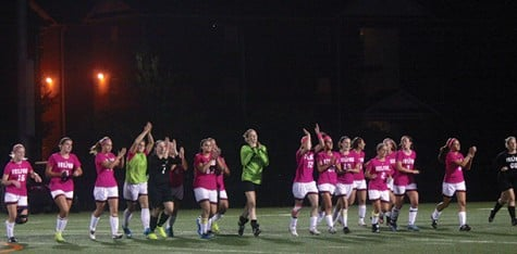 The women's soccer team wore pink to mark Breast Cancer Awareness Month.