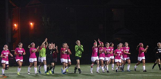 The+women%27s+soccer+team+wore+pink+to+mark+Breast+Cancer+Awareness+Month.+