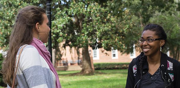 Shea Orth-Moore (R), an international student form Kenya, talks with fellow first-year Taryn Bonner. She is one of Guilford's many international students.