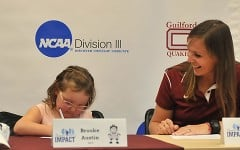 Brooke Austin is the newest -- and youngest -- member of Guilford's women's lacrosse team. Austin officially signed on October 7. She and her family will continue to be members of the Guilford community moving forward.