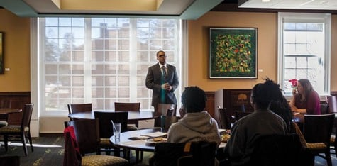 Antonio Jefferson, one of three candidates in line for Director of MED, speaks to students and staff on Feb. 5