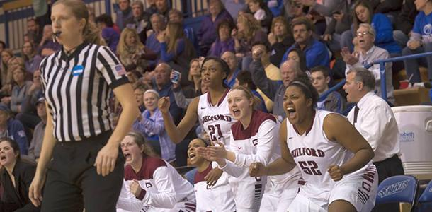 Emotions ran high as the women's team battled Mount Union in the first round of the NCAA Division III Tournament. Guilford went on to win 61-57.
