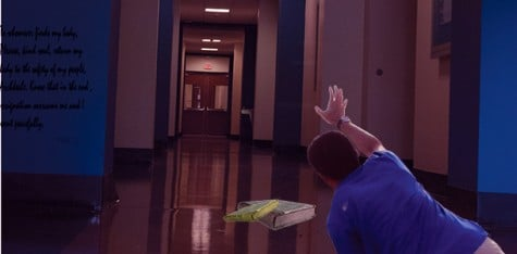"""Senior Eric Perierat desperately wandered the halls of Frank for three days before escaping. The Guilfordian encourages all English majors to exercise extreme caution before entering unfamiliar buildings, use the buddy system when possible and carry copies of """"Paradise Lost"""" for reference at all times"""