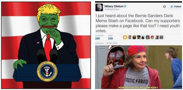 Memes, including fake tweets, have circulated the internet mocking both presidential candidates this past year