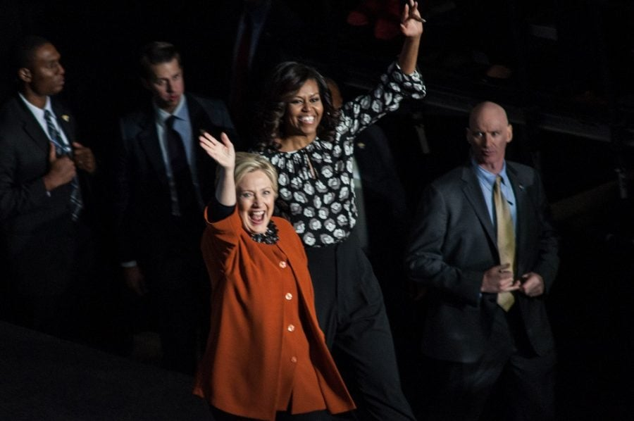 Hillary Clinton hits the campaign trail with first lady Michelle Obama in Winston-Salem North Carolina, on Thursday, Oct. 27, 2016.