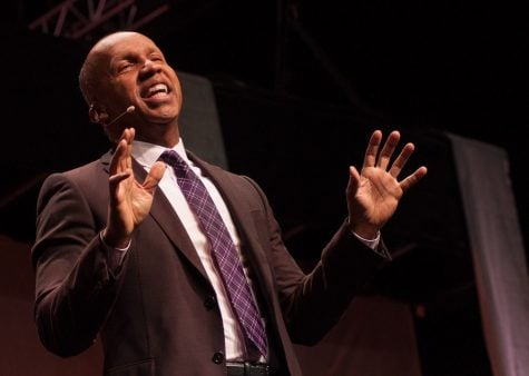 Bryan Stevenson, founder and Executive Director of the Equal Justice Initiative, speaks at the Greensboro Coliseum Complex on February 21, 2017 in Greensboro, North Carolina. Stevenson discusses his work with incarcerated children, death row inmates, overturning wrongful convictions, and fighting racial injustice in the criminial justice system.