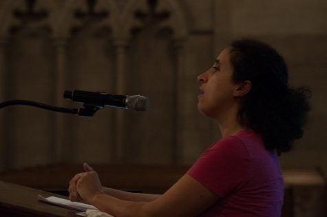 Diya Abdo, founder of Every Campus a Refuge at Guilford College, speaks to an audience of 50 at Duke Chapel in Durham North Carolina on Feb. 7, 2017. An associate professor of English and creative writing, she offered advice on how to create sanctuaries on college campuses.