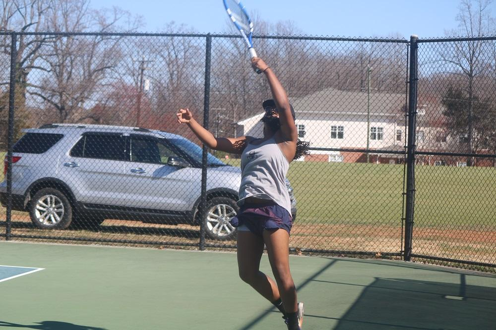Makayla McLaurin  practices for her team's next tennis match which will take place at Methodist University on February 25., 2017.