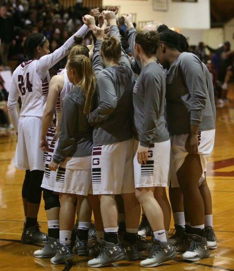 Guilford+College+women%E2%80%99s+basketball+team+huddle+before+the+start+of+the+first+round+game+of+the+NCAA+Division+III+Tournament+against+Marymount+University+at+the+Ragan-Brown+Fieldhouse+in+Greensboro%2C+North+Carolina%2C+on+March+3%2C+2017.+The+Quakers+almost+came+back+from+down+26+points+but+fell+to+the+Saints%2C+74-70.+Photo+By+Andrew+Walker+2017