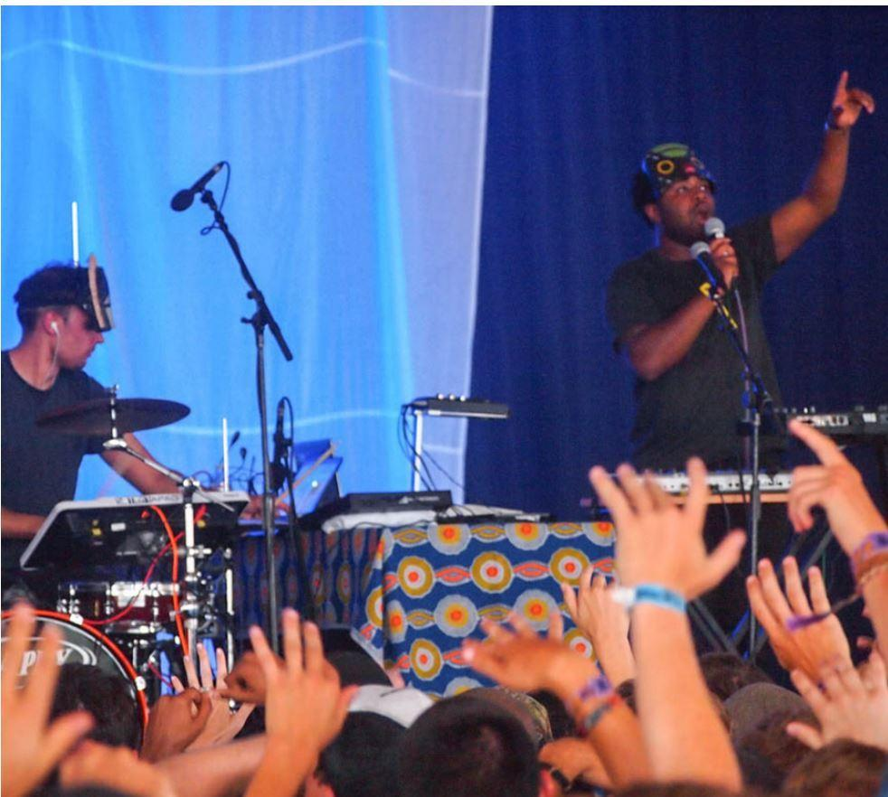 UK producer SBTRKT and his collaborator Sampha perform at the 2012 Bonnaroo Music Festival which was held from June 7 to June 10, 2012 in Manchester, Tennessee // Photo courtesy of Jon Elbaz