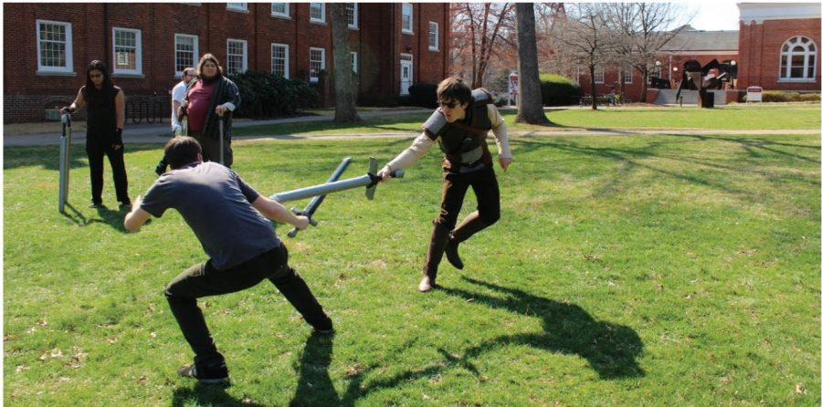 Senior+Jared+Willis+%28right%29+fights+Patrick+Haugh%2C+a+junior+from+UNCG%2C+during+the+Ampguard%2C+or+foam+weapon%2C+tournament.+Willis%0Acosplayed+as+Geralt+from+The+Witcher+video+game+series.+Photo+by+Abe+Kenore%2FGuilfordian