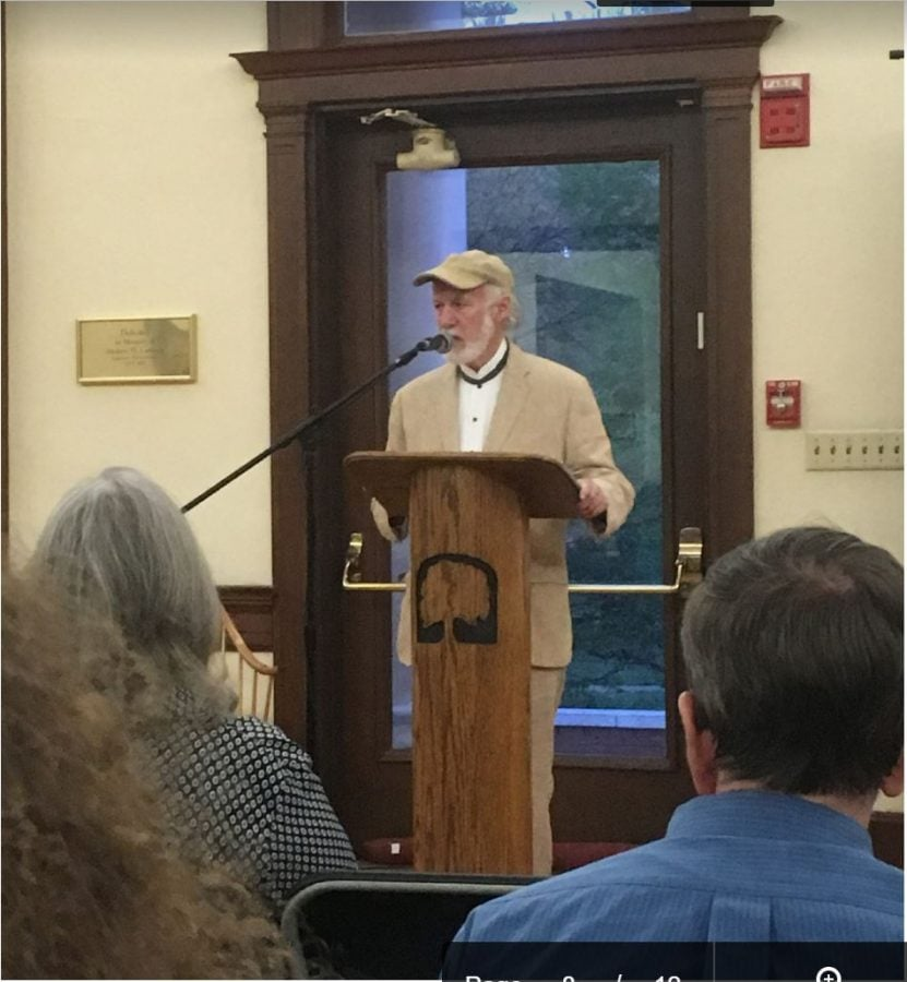 Allan Gurganus, author, reads an excerpt from one of his upcoming books to the student body on Wednesday, April 12 in the  Carnegie Room in Hege Cox Library, in Greensboro, North Carolina.