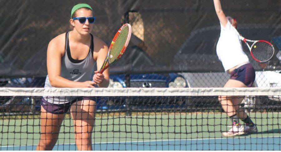 Katie+Claggett+%E2%80%9919%2C+practices+before+beginning+the+tennis+season+after+winning+against+Emory+and+Henry.+%2F%2F+Photo+by+Ava+Nadel%2FGuilfordian