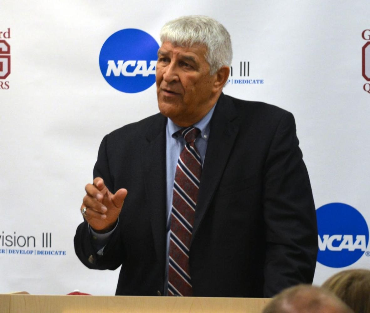 Nelson Bobb talks at the press conference announcing him being named the interim director of athletics on September 6, 2017 on the Guilford College campus. //Photo courtesy Guilford Athletics/