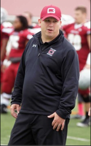 Guilford College Football Head Coach Chris Rusiewicz at a football game.//Photo courtesy Guilford Athletics