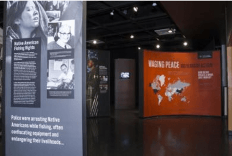 The American Friends Service Committee has an exhibit in Hege Library, titled Waging Peace: 100 Years of Action, is open through November 5, 2017. Photo courtesy the American Friends Service Committee