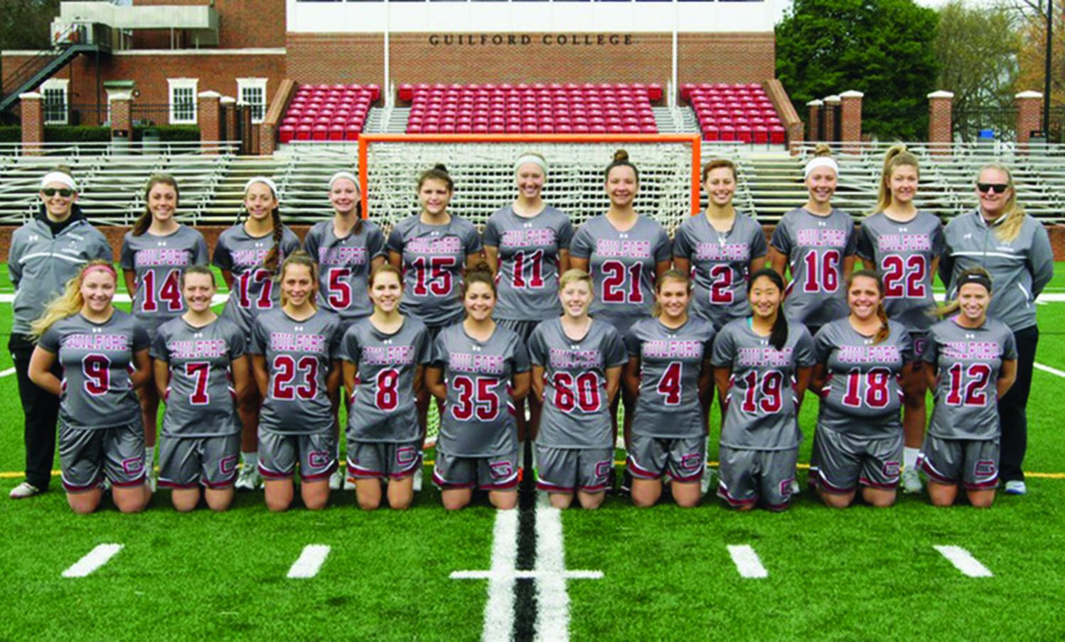 The Guilford College women's Lacrosse team poses for a group portrait./Photo courtesy of Guilford College Athletics