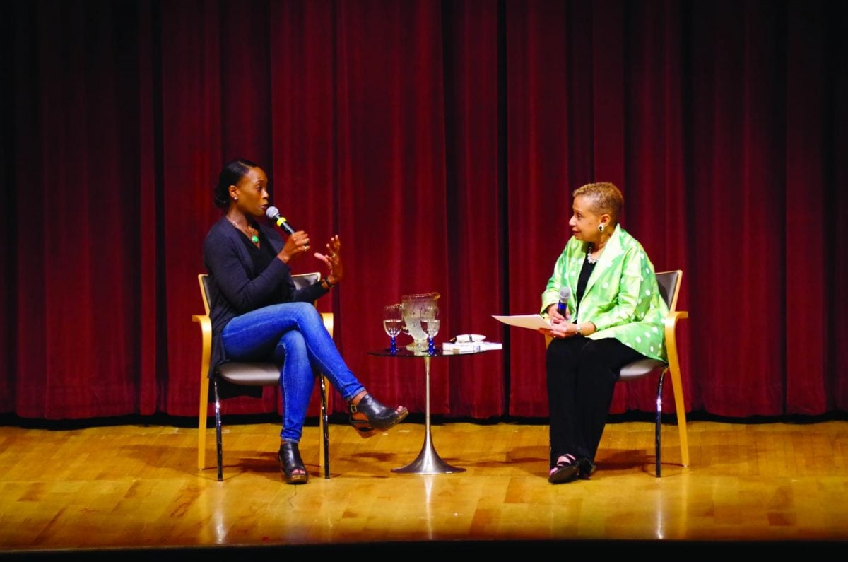 "Margot Lee Shetterly (left), talks to Lea E. Williams (right) about her book, ""Hidden Figures."" The event is part of the One City, One Book program put on by the Greensboro Public Library every two years. //Photo By Andrew Walker 2017/ The Guilfordian"