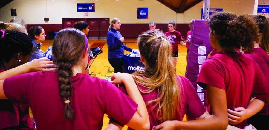 Guilford College Volleyball team talk