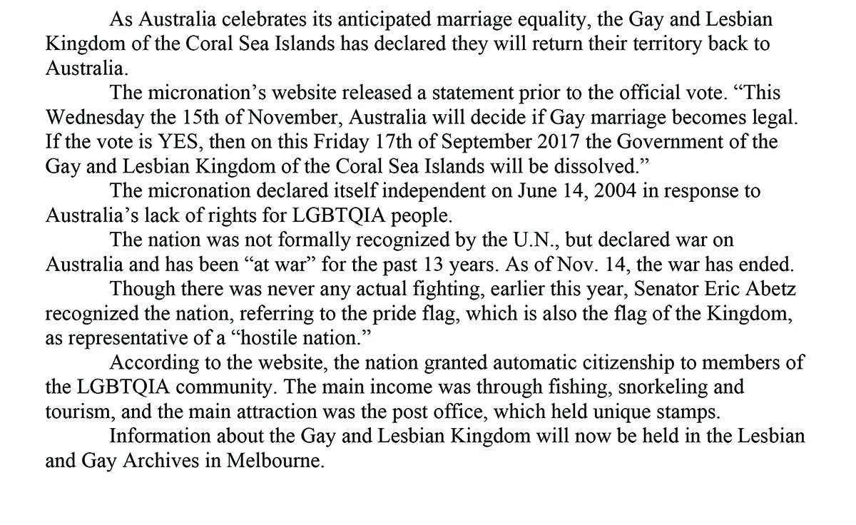 Gay and Lesbian Kingdom of the Coral Sea Islands Statement