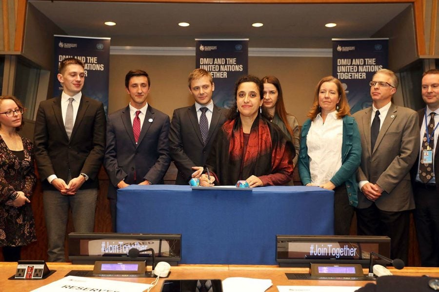 Diya Abdo signs the UN Together Campaign Action Charter in New York on Tuesday, Jan. 9, 2018// Photo Courtesy of Mark Von Holden