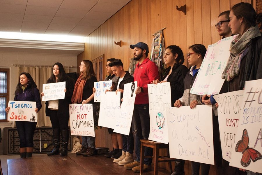 DACA recipients and student allies stand on a stage during the press conference.// Photo by Fernando Jiménez/The Guilfordian