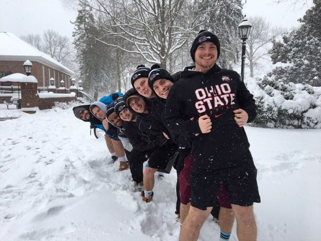 Guilford College men's lacrosse enjoy their day off playing in the snow on Wednesday, Jan. 17, 2018.// Photo by Shannon Petsch/The Guilfordian