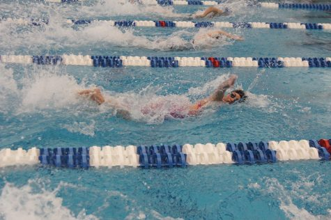 Guilford College women's swimming sophomore swimmer Carolyn O'Halloran races at the 2017 Old Dominion Athletic Conference Swimming Championships.// Photo courtesy Guilford Athletics.