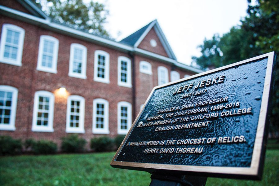 The Jeff Jeske Memorial is located in front of Archdale Hall. Jeske passed away on Jan. 23, 2017.//Photo by Fernando Jiménez/The Guilfordian