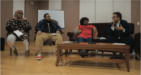 Ayah Khalifa (left), Rev. Brandon Wrencher, Casey Thomas and Rev. Mykal Slack spoke as panelists at the Black Power/Black Theology event in the Community Center on Tuesday, Feb. 8, 2018.//Photo by Julia Martins de Sa/The Guilfordian