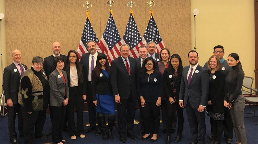 Jane Fernandes and Hector Rivera Suarez  with members of the Presidents' Alliance for Higher Education and Immigration and students in Washington, D.C. //Photo Courtesy of Jane Fernandes
