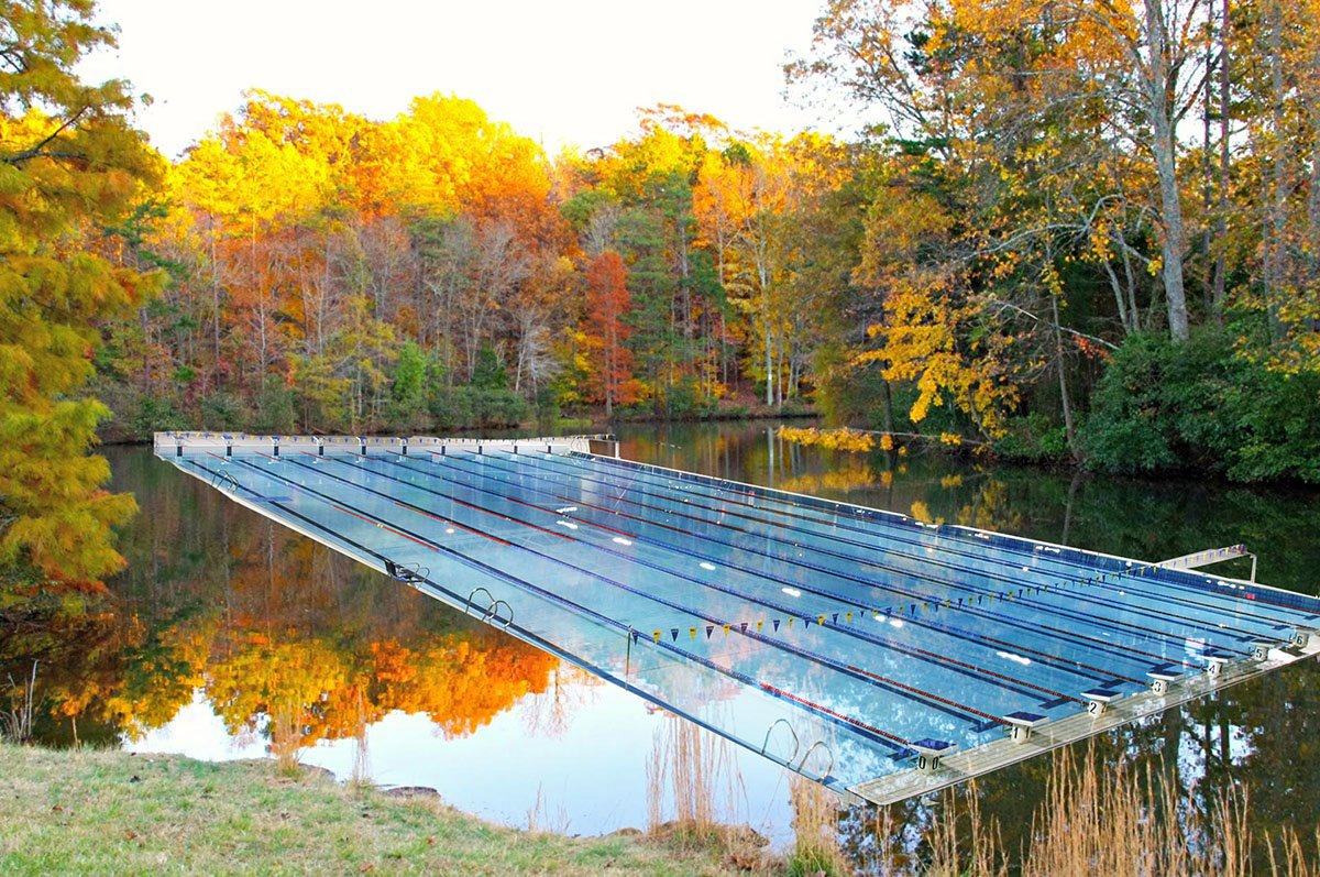 Guilford College trains swimmers in the new and improved lake. Photo Courtesy to the Organic Farmer/The Guilfordian