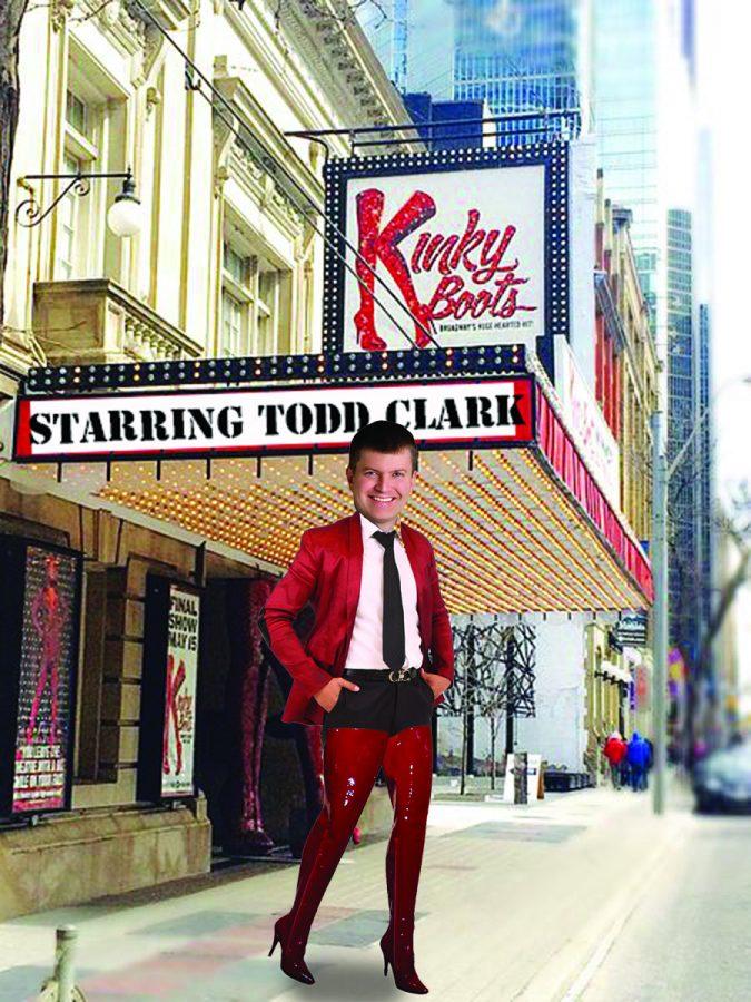 Goof: Todd Clark Kinky Boots