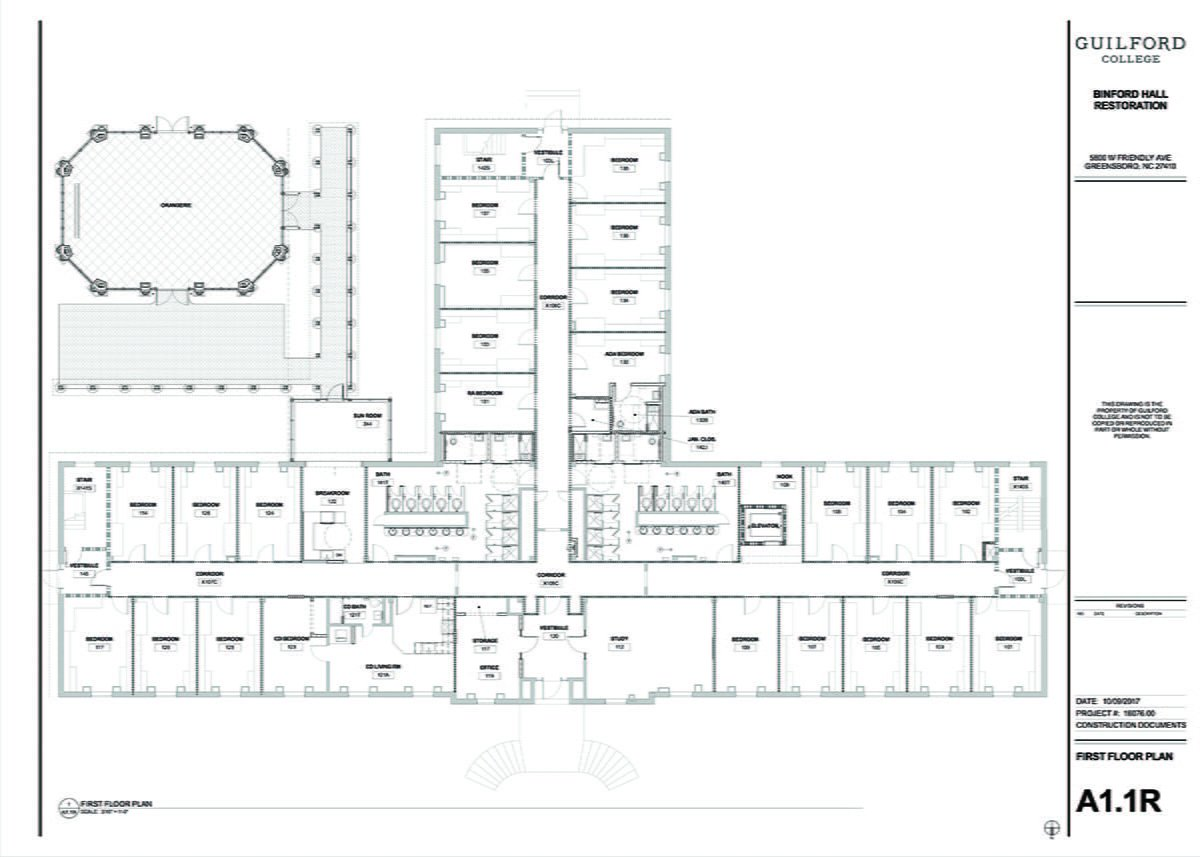 This is a floor plan for the new renovations of Binford Hall. These are the plans of the first floor./Photo Courtesy of Guilford College Marketing